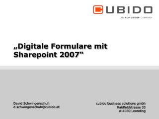 """Digitale Formulare mit Sharepoint 2007"""