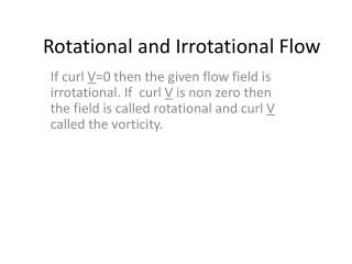 Rotational and Irrotational Flow