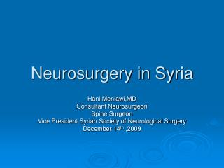 Neurosurgery in Syria