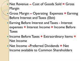 Net Revenue – Cost of Goods Sold = Gross Margin