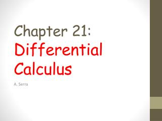 Chapter 21: Differential Calculus