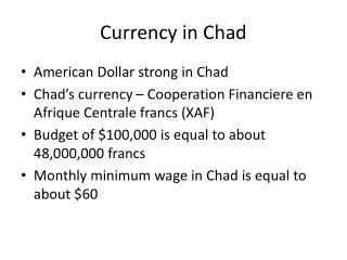 Currency in Chad