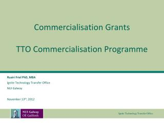 Commercialisation Grants TTO Commercialisation Programme