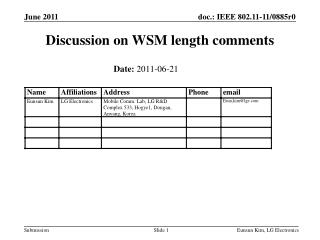 Discussion on WSM length comments
