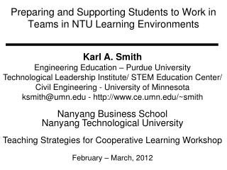 Preparing and Supporting Students to Work in Teams in NTU Learning Environments
