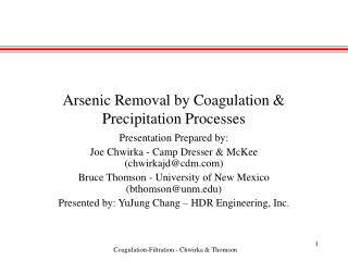 Arsenic Removal by Coagulation & Precipitation Processes