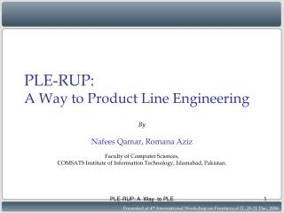 PLE-RUP:  A Way to Product Line Engineering