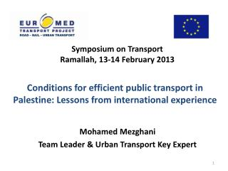Symposium on Transport Ramallah, 13-14  February  2013