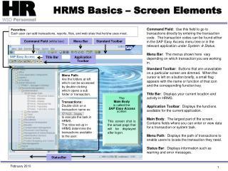 HRMS Basics – Screen Elements
