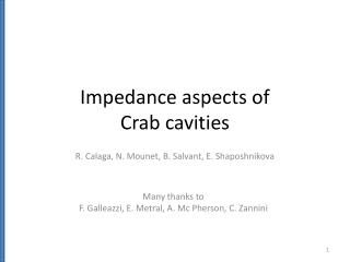 Impedance aspects of  Crab cavities