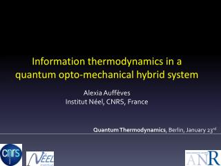 Quantum  Thermodynamics , Berlin,  January  23 rd