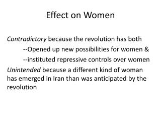 Effect on Women