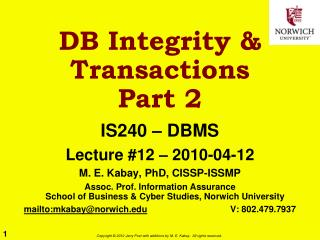 DB Integrity & Transactions Part 2