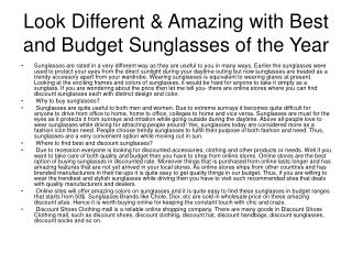 Look Different & Amazing with Best and Budget Sunglasses