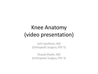 Knee Anatomy ( video presentation)