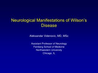 Neurological Manifestations of Wilson's Disease