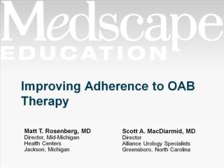 Improving Adherence to OAB Therapy
