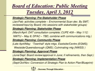 Board of Education:  Public  Meeting Tuesday, April 3, 2012
