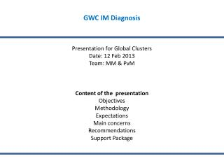 GWC IM Diagnosis  Presentation for Global Clusters Date: 12 Feb 2013 Team: MM & PvM