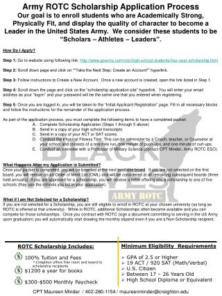 Army ROTC Scholarship Application Process