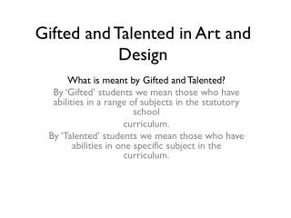 Gifted and Talented in Art and Design