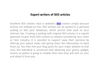 Expert writers of SEO articles