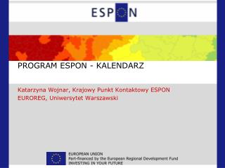 PROGRAM ESPON - KALENDARZ