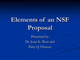 Elements of an NSF Proposal