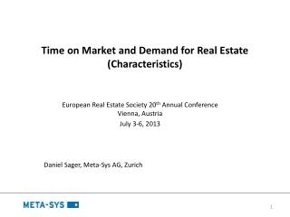 Time on Market and Demand for Real Estate (Characteristics)
