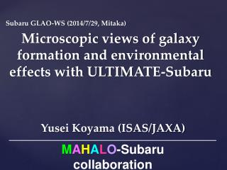 Microscopic views of galaxy formation and environmental effects with ULTIMATE-Subaru