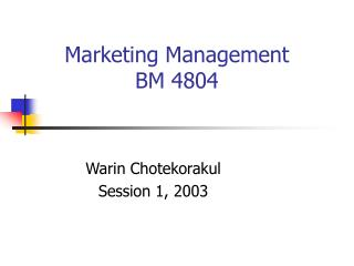 Marketing Management BM 4804