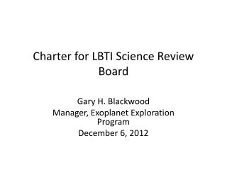Charter for LBTI  Science  Review Board