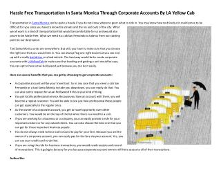 Hassle Free Transportation In Santa Monica Through Corporate