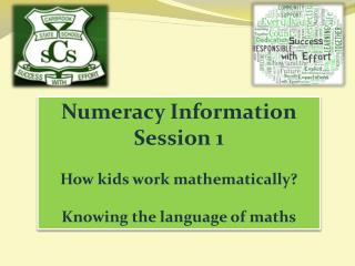 Numeracy Information Session 1 How kids work mathematically? Knowing the language of maths