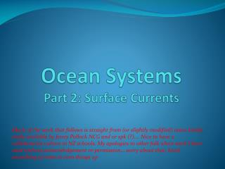 Ocean Systems Part  2: Surface Currents