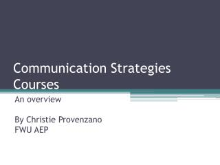 Communication Strategies Courses