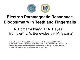 Electron Paramagnetic Resonance Biodosimetry in Teeth and Fingernails