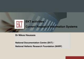 EKT activities - Current Research Information Systems