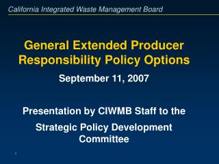 General Extended Producer Responsibility Policy Options