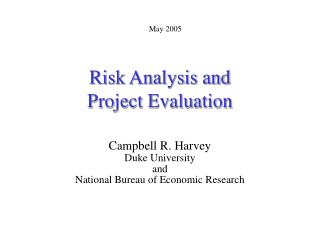 Risk Analysis and  Project Evaluation