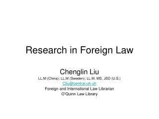Research in Foreign Law
