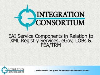 EAI Service Components in Relation to XML Registry Services, eGov, LOBs & FEA/TRM
