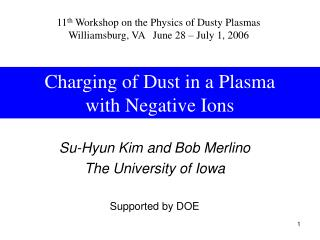 Charging of Dust in a Plasma with Negative Ions