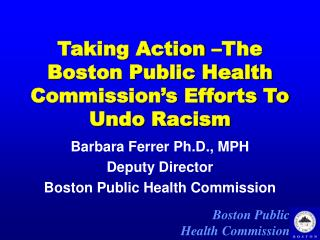 Taking Action –The Boston Public Health Commission's Efforts To Undo Racism