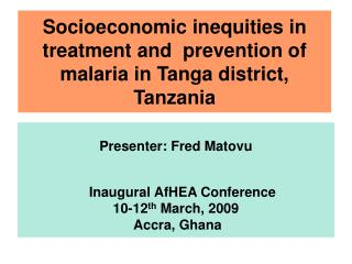 Socioeconomic inequities in treatment and  prevention of malaria in Tanga district, Tanzania