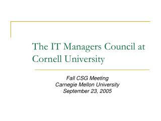 The IT Managers Council at Cornell University