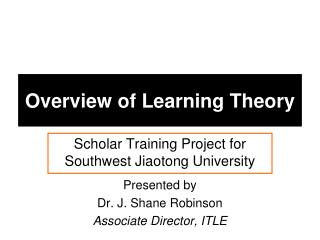 Overview of Learning Theory