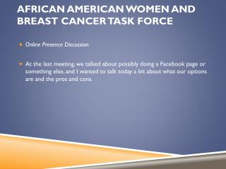 African American Women and Breast Cancer Task Force