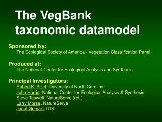 The VegBank  taxonomic datamodel