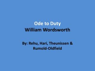 Ode to Duty William Wordsworth